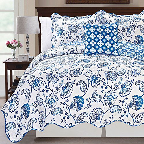 Serenta Printed Paisley Flower 4 Piece Reversible Quilted Coverlet Set, King Blue