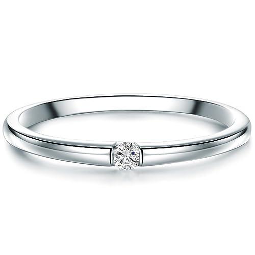 9a42ccf5a840a1 Tresor 1934 Anello da Donna / Anelli Solitario Argento Sterling 925  Diamante bianco taglio Brillante 0
