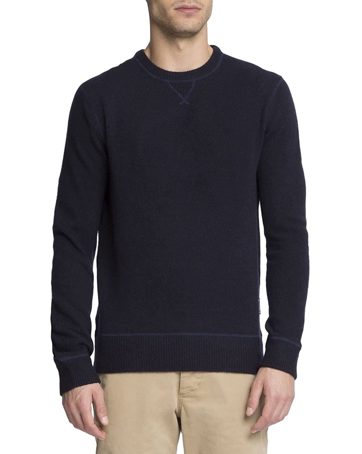 SCOTCH AND SODA - Crew-neck Sweaters - Men - Blue Wool Grey Contrast Stitch Jumper for men
