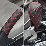 KolorFish Faux Leather Car Gear Shift Knob Cover Set Hand Brake Cover Sleeve Automotive Car Interior Accessories Decoration Protector Sleeve Fit Most Car (Red)
