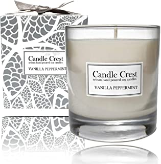 product image for Candle Crest Soy Candles - Vanilla Peppermint Scented Soy Candle 8oz Made in The USA - Spa Candle Gift Set
