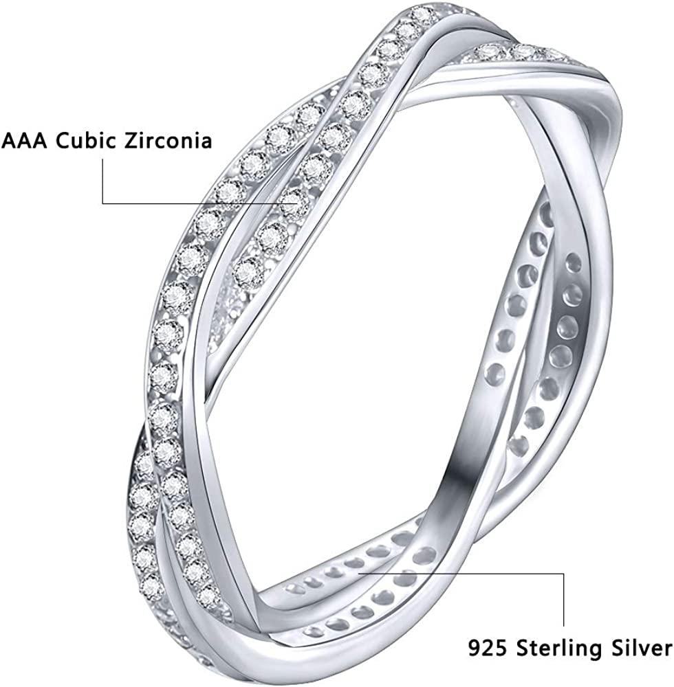 AoedeJ 18K Gold Plated Stackable Eternity Rings Set CZ Simulated Diamond Wedding Band for Women