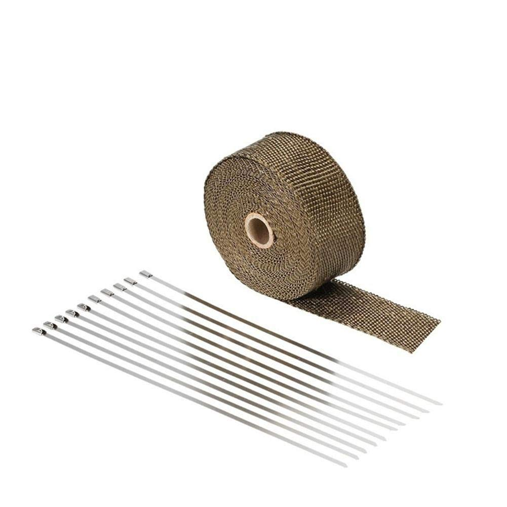 Bande Isolante Thermique Enveloppe d/Échappement avec 10 Attaches de C/âble en Acier Inoxydable 10m x 50mm Bande d/Échappement