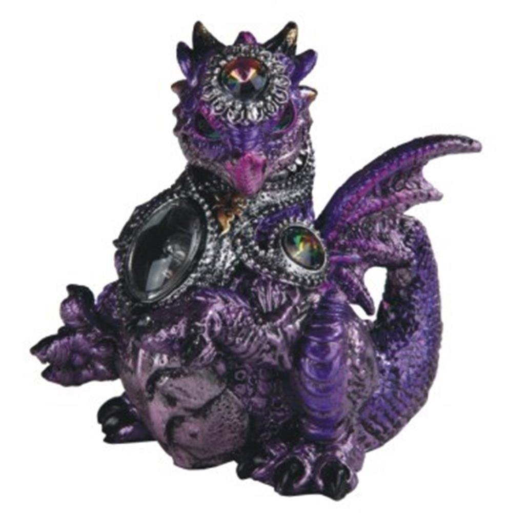 CDM product GSC StealStreet Purple Medieval Themed Dragon with Armor and a Gem Statue Figurine big image