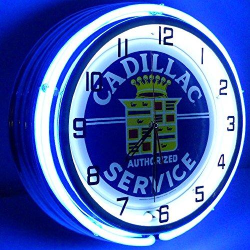 "Cadillac 18"" Double Neon Clock Service Parts Dealer Garage"