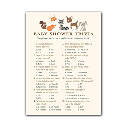 Amazon Com Invitationhouse Woodland Animals Baby Shower Trivia Game
