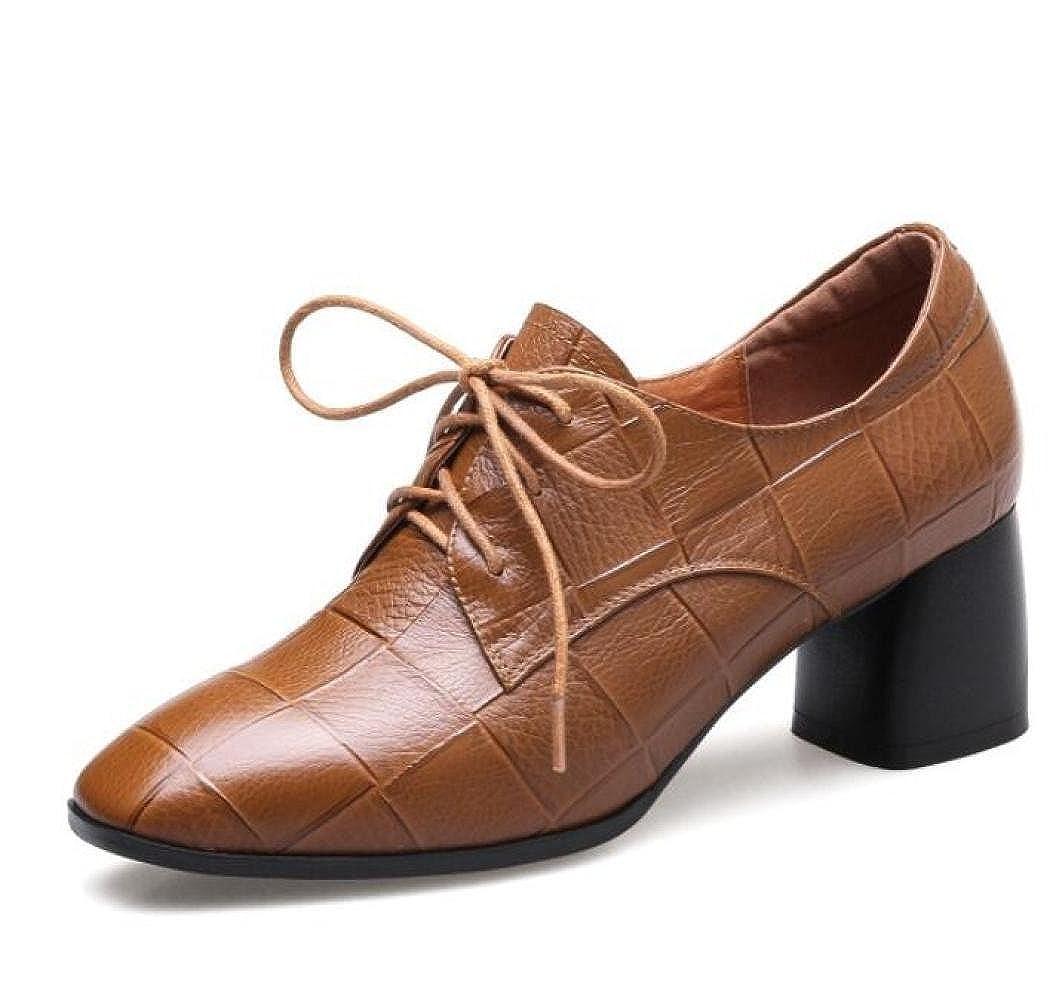 KNGMGK Herbst Einzelne Leder Schuhe Frauen Spitzenschuhe Leder Einzelne Vintage Damenschuhe 80dff3