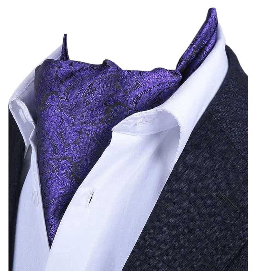 L04BABY Mens Purple Paisley Floral Silk Ties Suit Ascot Jacquard Woven Cravat