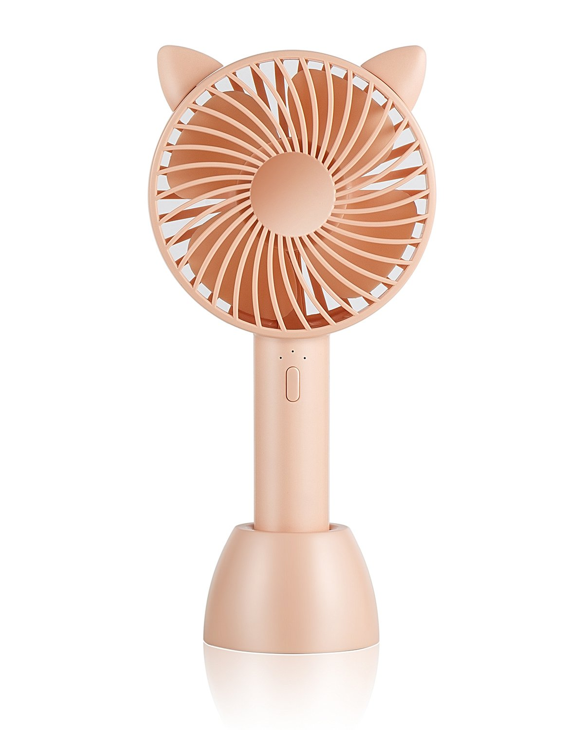 SUPOLOGY Mini Portable Fan, Rechargeable USB Twin Turbo Blades Adjustable with 3 Speed Handheld Table Desktop Fan for Home Office Outdoor Travel (Pink) MiNi Fan 003