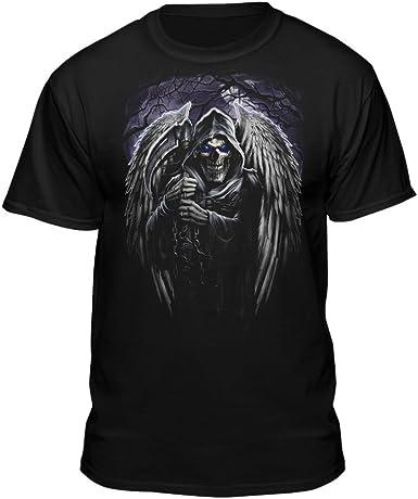 Grim Reaper T-Shirt Angel Death Scythe Skull Skeleton Tee