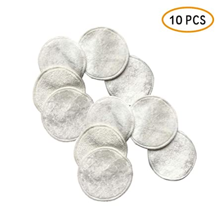 Baby Nursing Breast Cloth Pads with Bag,10 Packs Eye Cleaning Make Up Pad Bamboo Washable Soft Face Cleansing Pads Reusable Make Up Remover Pads