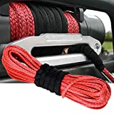 """Red 50'X1/4""""Dyneema Synthetic Winch Rope Cable 6400 LBs ATV SUV Recovery Replacement"""