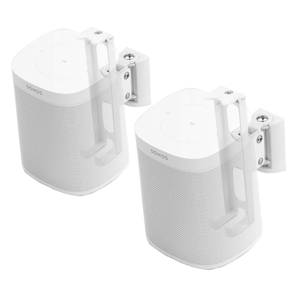 Wall Mounts Brackets-Pair Set for SONOS ONE and SONOS Play 1 Speaker (Swivel and Tilt,Compatible with Both SONOS ONE and SONOS Play 1, White Pair)