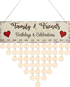 WINOMO Family Birthday Board Plaque DIY Hanging Wooden Birthday Reminder Calendar with 50pcs Round Discs