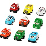 Toy Car Party Favors Construction Vehicle Trucks Push Pull-Back Car Toy Plastic Cars 9 Pcs Cartoon Emergency Kids Vehicles Play Set Toys for Kids Toddlers Girls Boys over 3 years