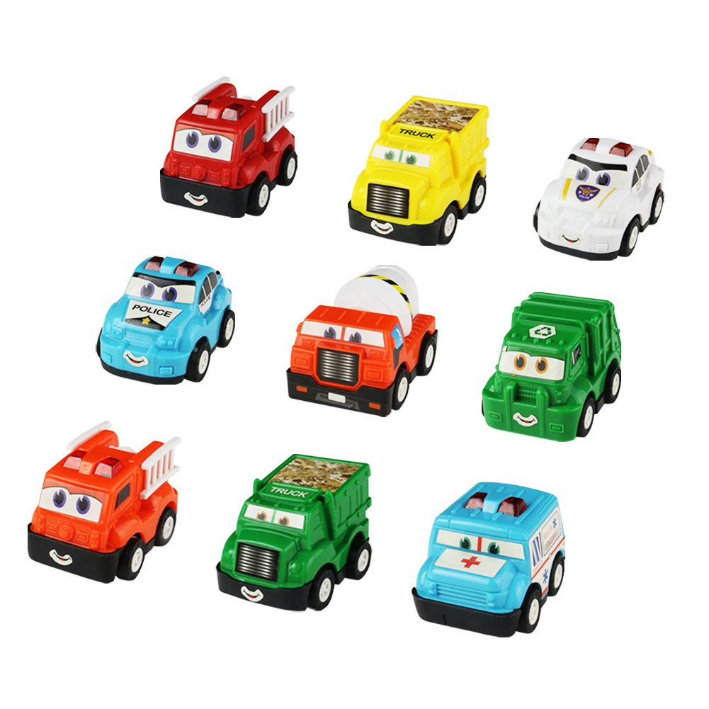 yoptote Pull-Back Vehicles Toy Cars Mini Race Car Construction Trucks Police Car Cement Fire Dump Ambulance Garbage Trucks(9 Pack) for Kids Toddlers Boys Girls