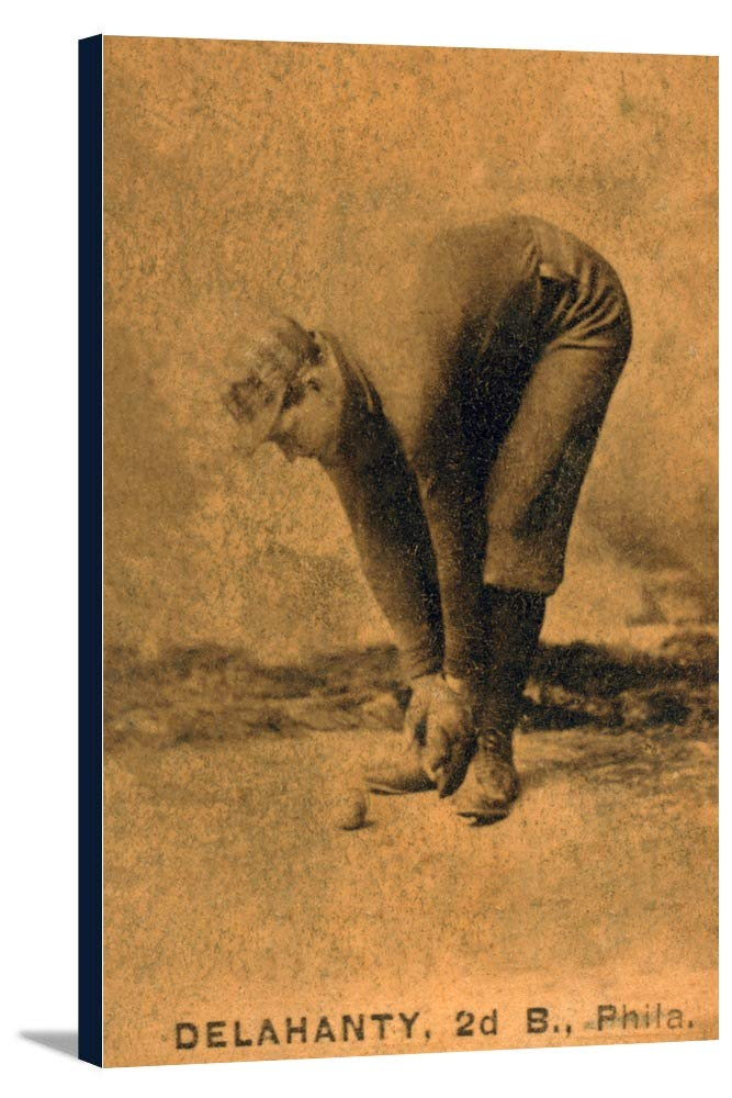 Philadelphia Quakers – Ed Delahanty – 野球カード 23 7/8 x 36 Gallery Canvas LANT-3P-SC-22946-24x36 B0184AHQS6  23 7/8 x 36 Gallery Canvas