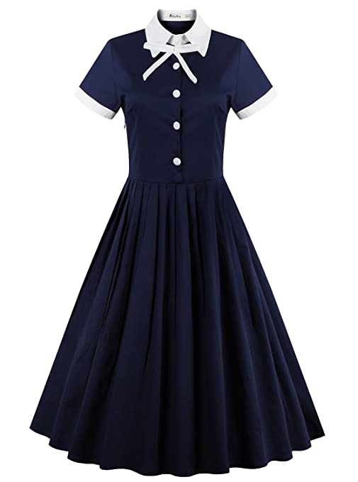 1940s & 1950s Style Shirt Dresses, Shirtwaist Dresses ReoRia Womens 40s 50s Style Short Sleeve Rockabilly Picnic Swing Vintage Dress $31.00 AT vintagedancer.com