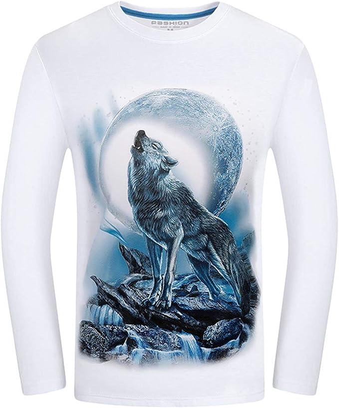 Kairuun Hombre T-Shirts 3D Lobo Impresi/ón Camisetas Manga Larga Moda tee Shirt O-Cuello Casual Tops