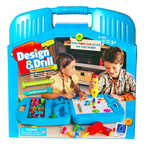 Educational Insights Design & Drill Power Tool Workshop - Drill Toy, STEM & Construction, Building Toy
