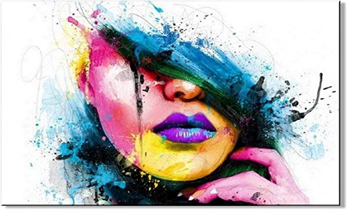 Large Wall Art The Face Portrait Large Giclee Contemporary Art oil on canvas Downloadable Art Print of Original Painting