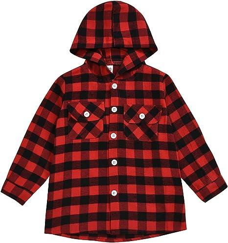 Tianhaik 2-7t Camisa de Franela de Manga Larga con Capucha a Cuadros Rojos Unisex para niños y niñas para niños niñas: Amazon.es: Deportes y aire libre