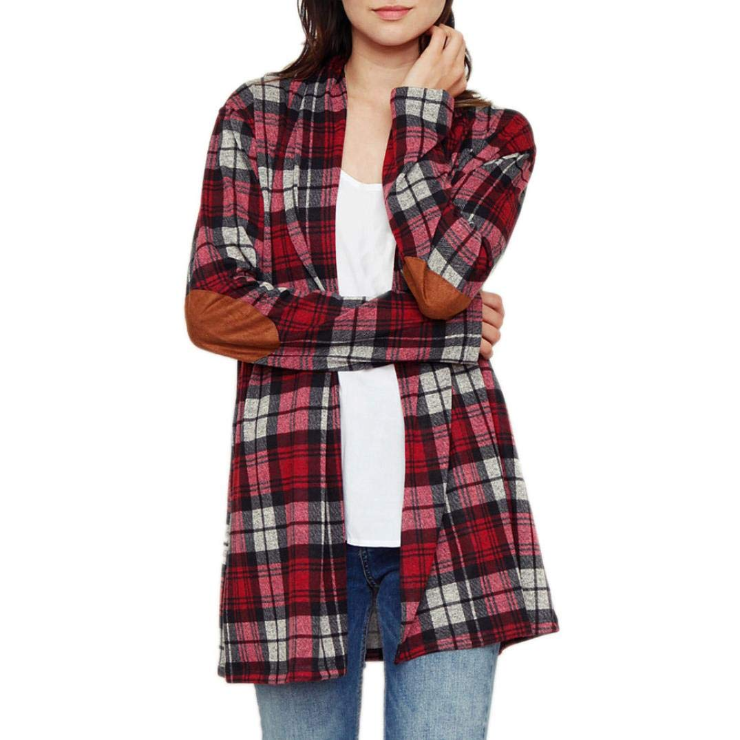 Spbamboo Womens Cardigan Lady Plaid Print Jacket Casual Long Sleeve Coat Outwear