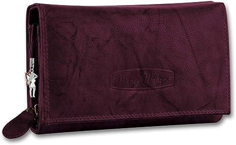 Money Maker Portefeuille en cuir pour femme Violet Bordeaux, One Size EU