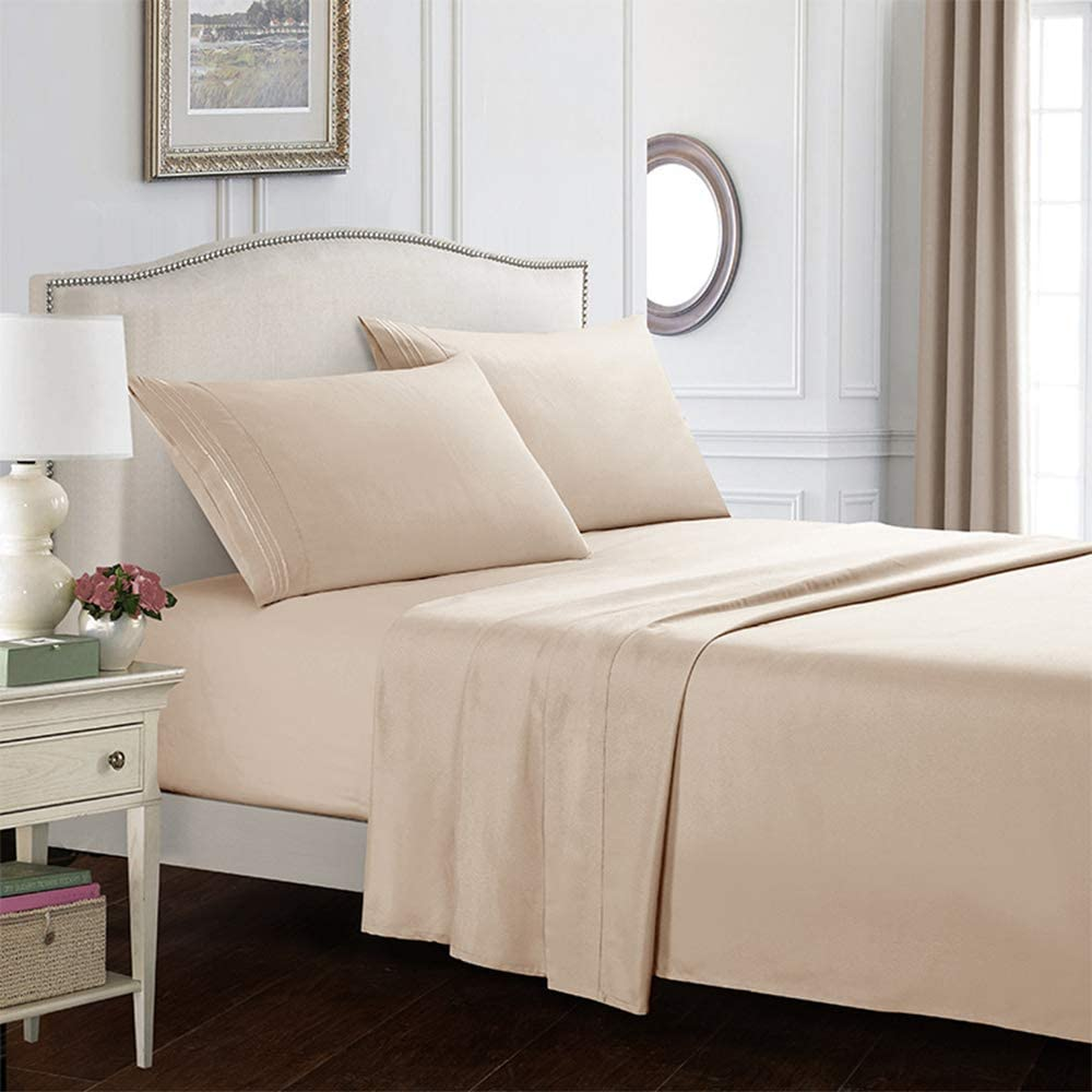 Tinor Bed Sheet Set,Brushed Microfiber,Wrinkle ,Fade Stain Resistant ,Machine Washable Beige-Twin