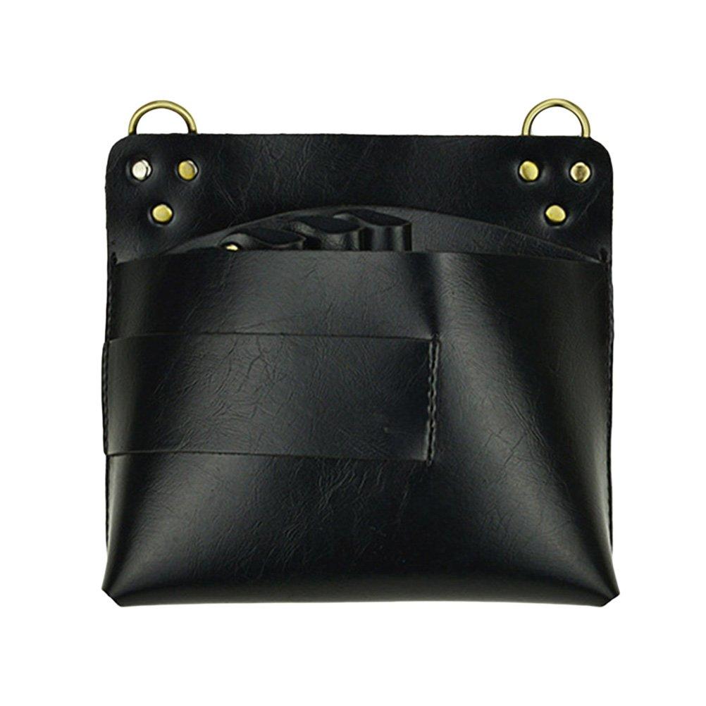 FRCOLOR Leather Scissor Pouch Holster Barber Shear Case Waist Holder Hair Dressres Pouch fot Salon (Black)