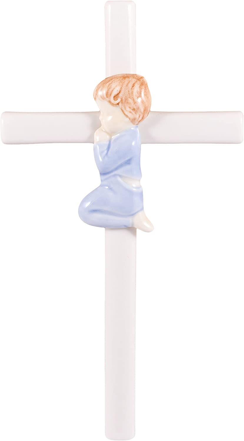 Praying Blue in Blue 7.5 Inch Hand-Painted Glazed White Porcelain Wall Cross