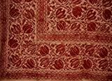 Veggie Dye Block Print Tapestry Cotton Bedspread 108'' x 88'' Full-Queen Red