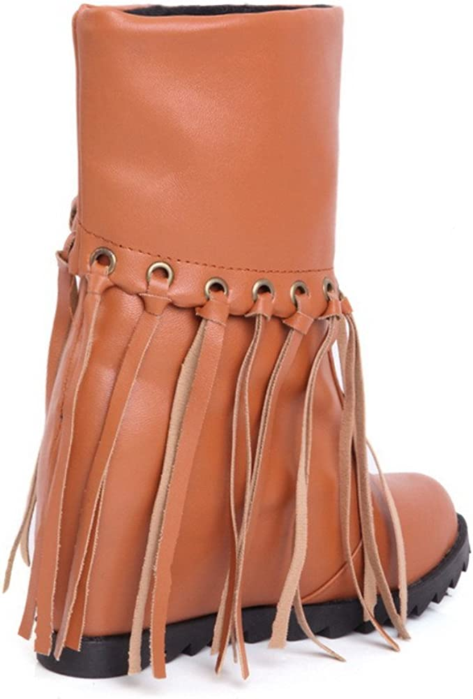 WeiPoot Womens Closed Round Toe High Heels PU Rubber Solid Boots with Heighten Inside and Tassels