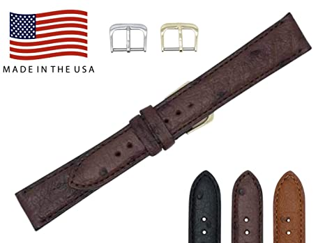 2b949326b 22mm Brown Genuine Ostrich - Padded Stitched – Factory Direct - Replacement  Watch Strap Band -