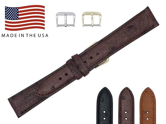 16 mm color marrón oscuro genuino de avestruz Reemplazo Correa de reloj banda fabricado en Estados Unidos fba155: Amazon.es: Relojes