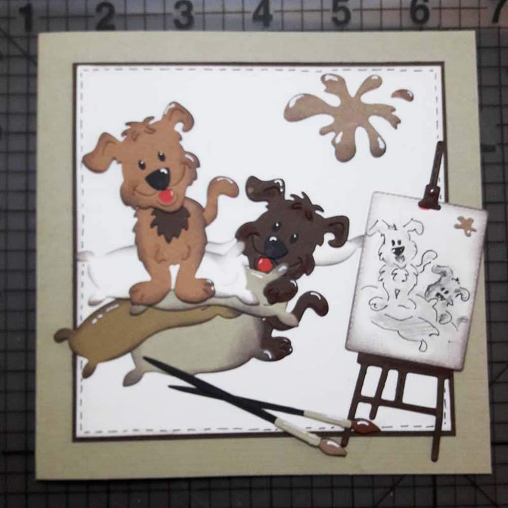 Dise/ño De Patr/ón De Perro De Metal DIY Stencil Scrapbook Papel De Relieve Tarjetas De Fotos /Álbum Punch Craft Decor Plata Luo-401XX Troqueles De Corte