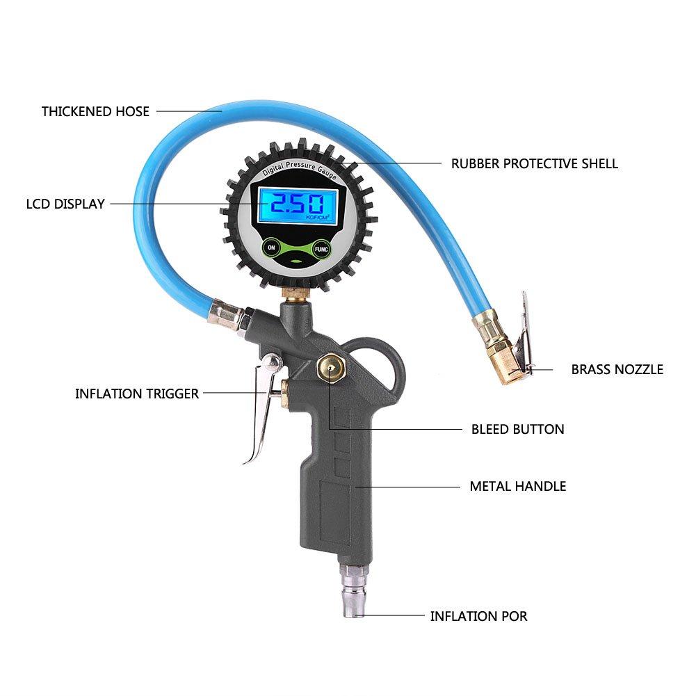 Manom/ètre Num/érique Keenso Jauge de Pression de Pneu LCD Pistolet de Gonflage Jauge de Gonfleur de Pneu Digital avec le Tuyau pour Camion V/élo Voiture