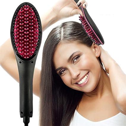 Cepillo Alisador,plancha de pelo de LCD de temperatura ajustable Masaje cepillo de pelo recto