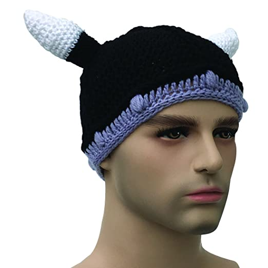 0b84f428d70 Kafeimali Unisex Barbarian Knight Knit Hat Viking Horns Beanie Funny Caps  (Black)