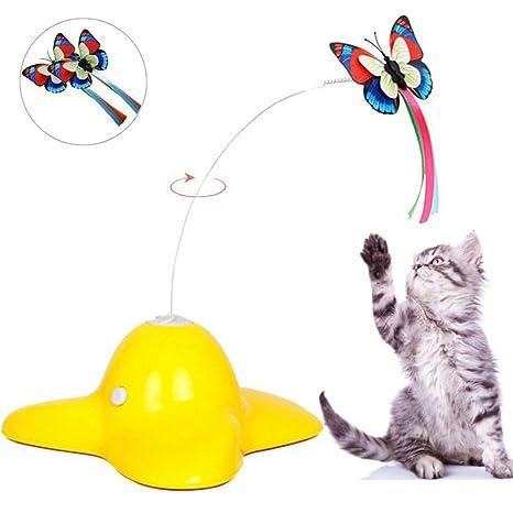 CHRONSTYLE Juguetes para Gatos Mascotas Perros, Juguetes Interactivos Eléctrico Giratorio Mariposa Gato Mascota Juguete Pequeño