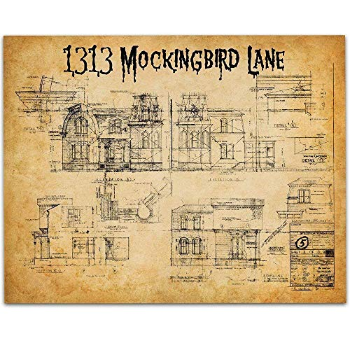 Munsters House Plans - 11x14 Unframed Art Print - Great Gift Under $15 to Classic TV Show Geeks and Vintage Home Decor -