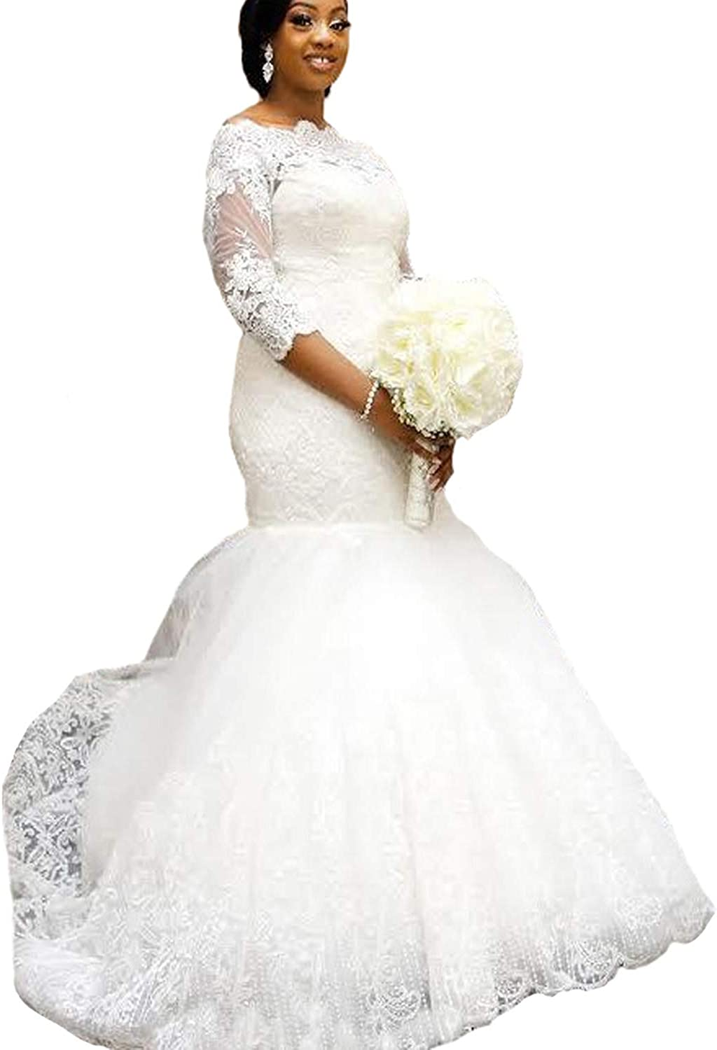 Yuxin Elegant Plus Size Wedding Dress 2020 Long Sleeves Appliqued Lace Mermaid Bridal Gowns At Amazon Women S Clothing Store