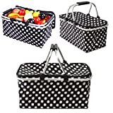 KINGSO 30L Large Insulated Market Picnic Basket Thermal Tote Cooler Bag Lunch Tote Storage Ice Box with Handles and Zipper for Picnic Camping Hiking For Sale