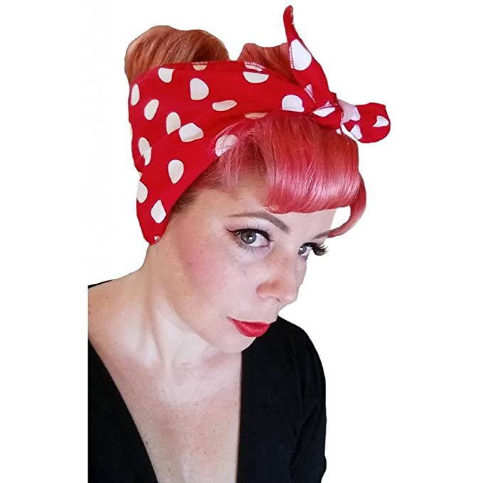 Rosie the Riveter Costume & Outfit Ideas Spellbound Bows Red with Big White Polka Dots Double Wide Headwrap $16.49 AT vintagedancer.com