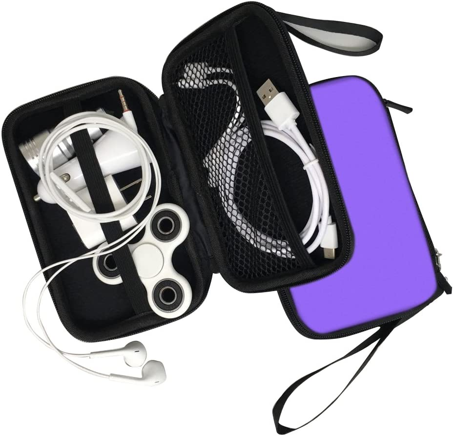 CTREEY Hard Protective EVA Case Impact Resistant Travel Power Bank Pouch Bag USB Cable Organizer Sleeve Pocket Accessories Earphone Pouch Smooth Coating Zipper Wallet Shockproof Carring Case Purple