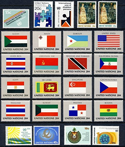 United Nations Stamps (NY) 1981 Year Set MNH Singles #343-367 with FLAGS!