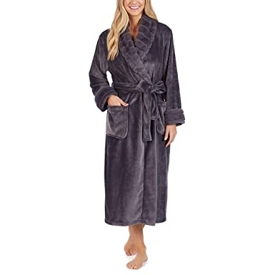 f43472c2b6 Image Unavailable. Image not available for. Colour  Carole Hochman Women s  Plush Robe Dressing Gown Charcoal ...