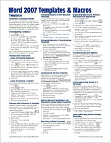 Microsoft word 2007 templates macros quick reference for Instruction sheet template word