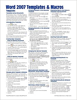 Microsoft Word 2007 Templates & Macros Quick Reference Guide (Cheat ...