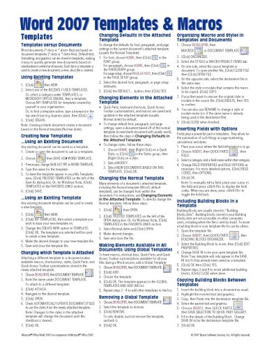 Microsoft Word 2007 Templates & Macros Quick Reference Guide (Cheat Sheet of Instructions, Tips & Shortcuts - Laminated Card) (Microsoft 2007 Word Buy)